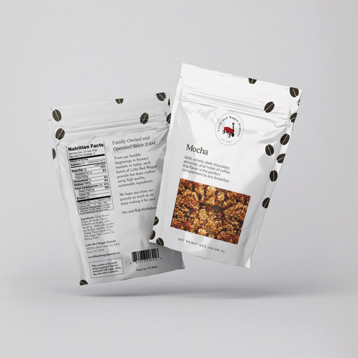 Little Red Wagon Granola Mocha flavor; sustainable food packaging