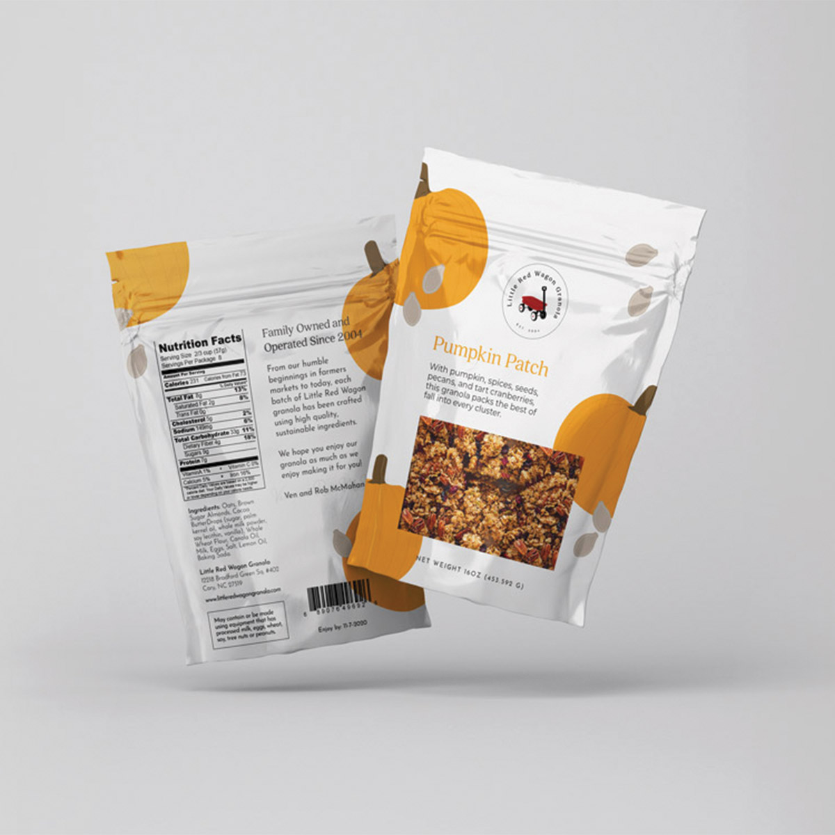 Little Red Wagon Granola Pumpkin Patch flavor; sustainable food packaging