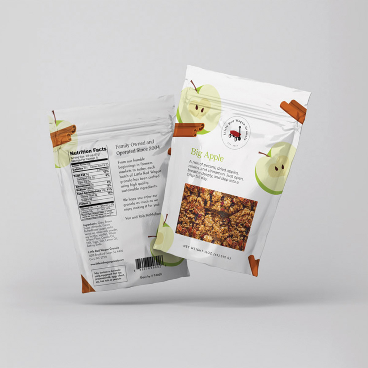Little Red Wagon Granola Big Apple flavor; sustainable food packaging