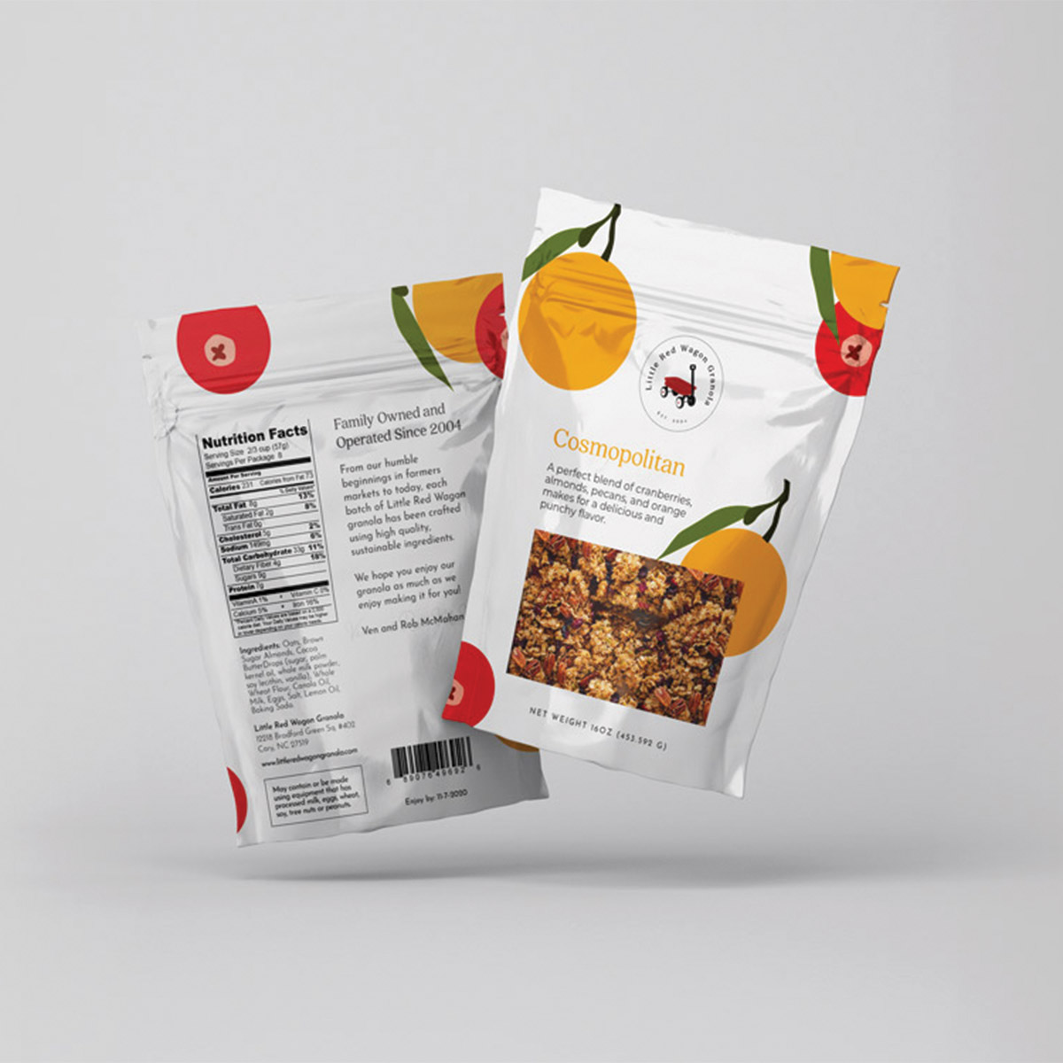 Little Red Wagon Granola Cosmopolitan flavor; sustainable food packaging