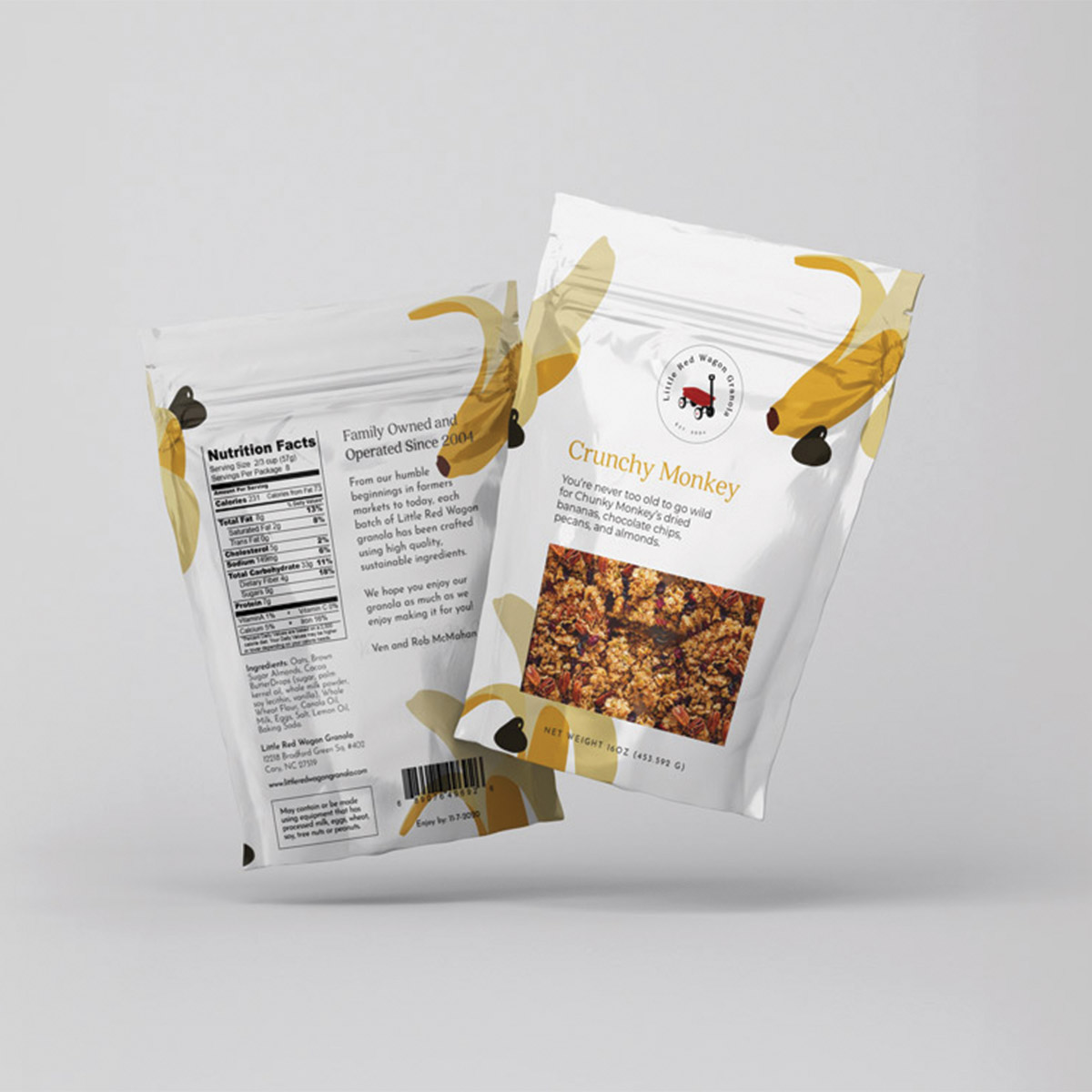 Little Red Wagon Granola Crunchy Monkey flavor; sustainable food packaging
