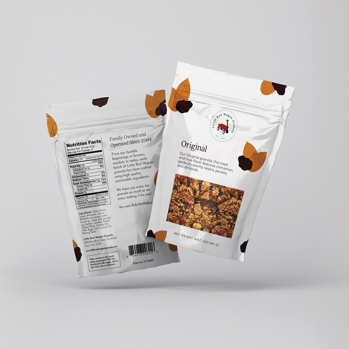 Little Red Wagon Granola Original flavor; sustainable food packaging
