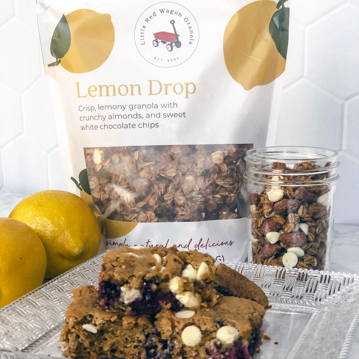 granola cookie bars with lemon drop granola
