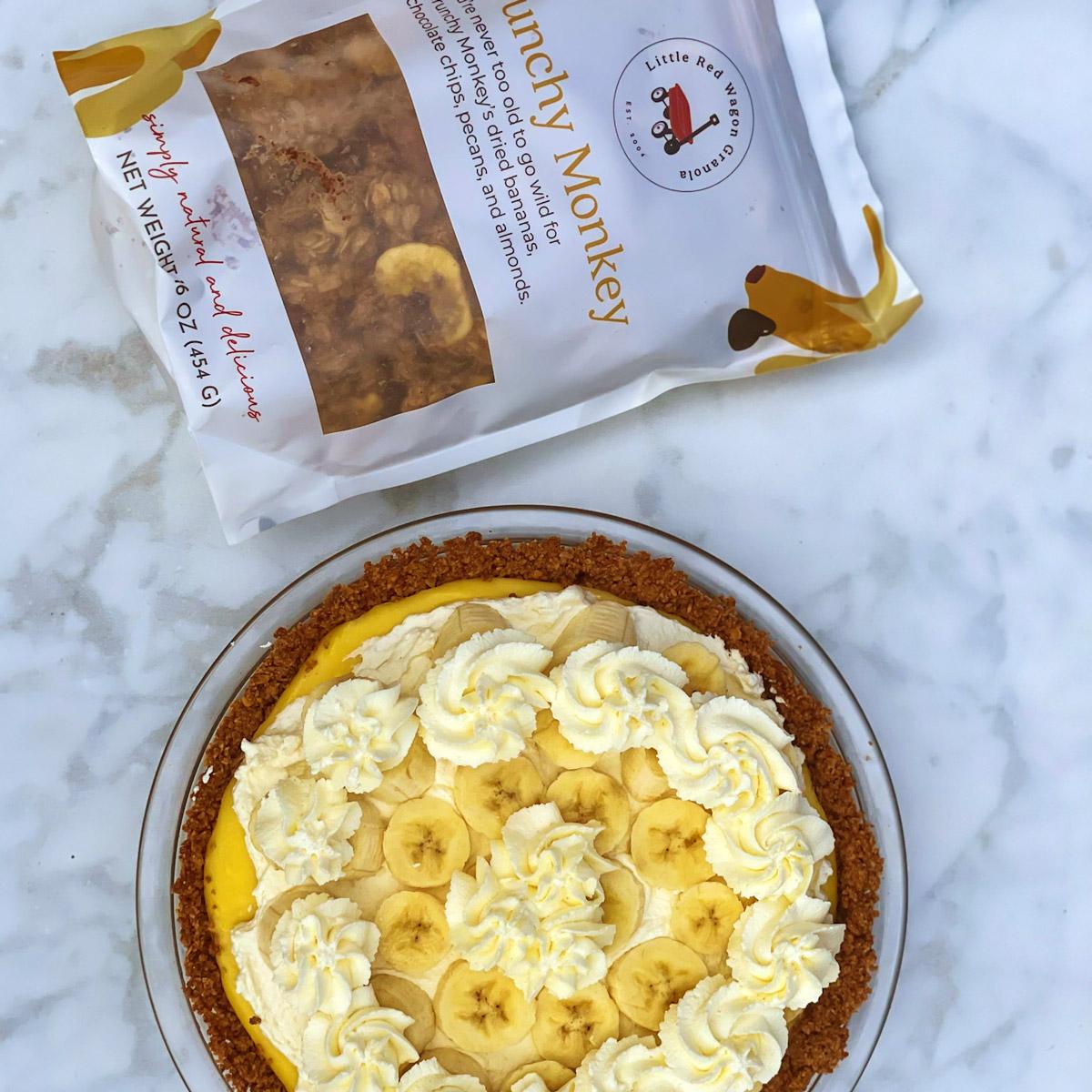 easy banana cream pie recipe with crunchy monkey granola
